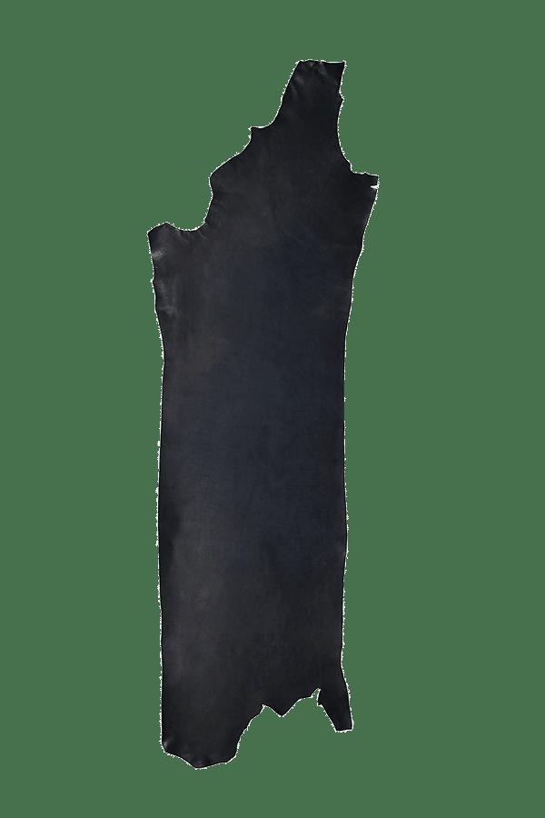 Drum Dyed Back Black Leather Hide